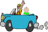 Man With Baby In Car Clip Art