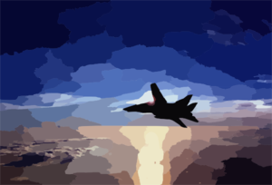 F-14 Flying At Sun Set Clip Art