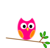 Pink Orange Owl Clip Art
