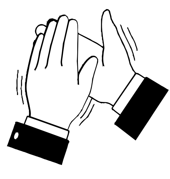 Black Amp White Clapping Hands Clip Art At Clker