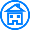 Blue House In Circle  Clip Art