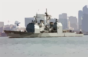 Uss Valley Forge (cg 50) Passes By The San Diego Skyline Clip Art
