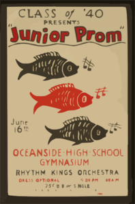Class Of  40 Presents  Junior Prom  Oceanside High School Gymnasium : Rhythm Kings Orchestra. Clip Art