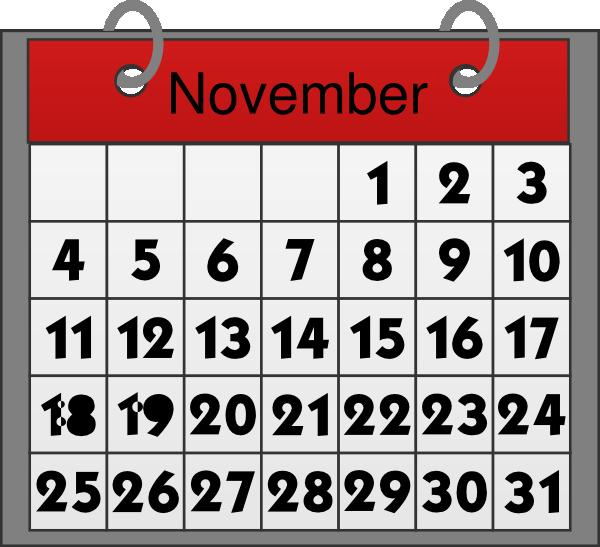 november calendar clip art at clker com vector clip art online rh clker com calendar clipart free calendar clipart december