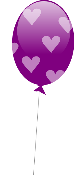 Purple Balloon With Hearts Clip Art at Clker.com - vector ...