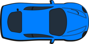 Blue Car - Top View Clip Art