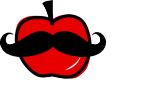Apple With Mustache Clip Art