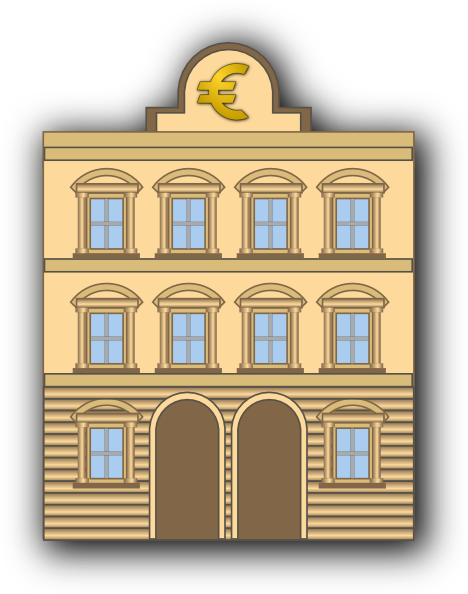 bank building with euro sign clip art at clker com vector clip art rh clker com banknotes clipart bank clipart black and white