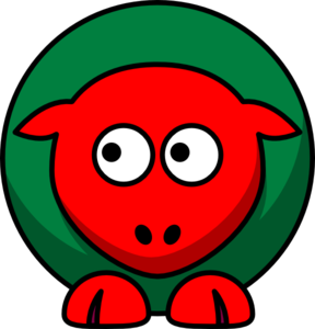 Sheep Red Green Toned Looking Left Clip Art