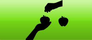 Green Gradient With Hands And Fruit Vector Clip Art