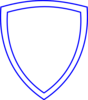 White Shield With Blue Outline Clip Art