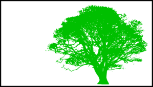 Tree, Green Silhouette, White Background Clip Art