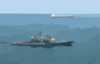 Uss Chosin (cg 65) Enforces An Exclusionary Perimeter As Commercial Oil Tanker Abqaiq Readies Itself To Receive Oil At Mina-al-bkar Oil Terminal (mabot), An Off Shore Iraqi Oil Installation Clip Art