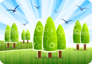 Landscape With Abstract Trees Clip Art