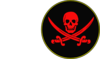 Pirate Skull And Swords W/borders Clip Art