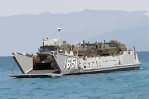A Landing Craft Utility (lcu) Arrives Just Offshore To Unload Supplies And Equipment In Support Of Exercise Balikatan 2004. Clip Art