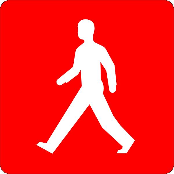 Walking In Love Clip Art: Red Pedestrian Walk Symbol Clip Art At Clker.com