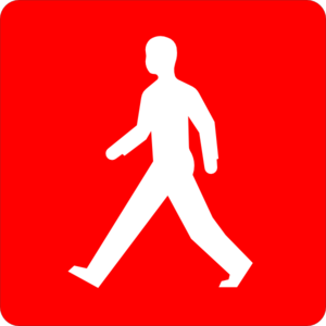Red Pedestrian Walk Symbol Clip Art
