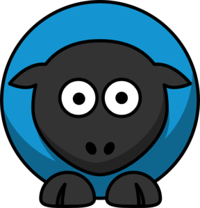 Sheep - Blue On Black  Clip Art