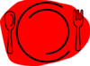Red Plate Knife Clip Art