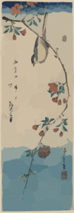 Small Bird On A Branch Of Kaidōzakura. Clip Art