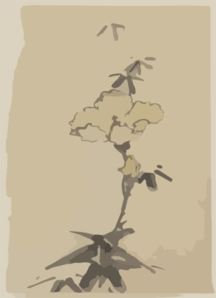 [yellow Blossom With Bud On A Stalk Above Leaves] Clip Art