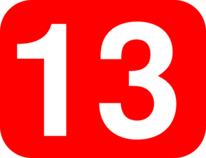Number 13 Red Background Clip Art