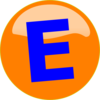 Orange Button Blue E Clip Art