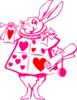 Hot Pink Rabbit Red Hearts Clip Art