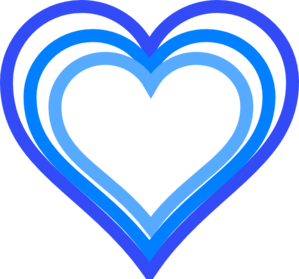 Triple Blue Heart Outline Clip Art