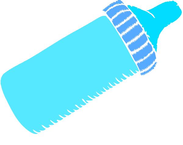 Baby Bottle Blue Clip Art Clker Vector
