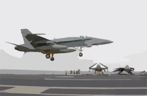 Hornet With Its Tailhook Down, Attempts A Controlled Landing On The Ship S Flight Deck Clip Art