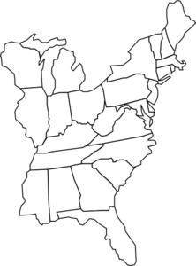 Map Of The Eastern Us States - Blank map of eastern portion of us