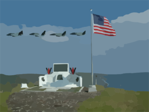 F-14 Tomcats Assigned To The Black Knights Of Fighter Squadron One Five Four (vf-154) Fly By Mt. Suribachi On Iwo Jima Island Clip Art