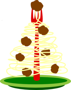 Spaghetti Christmas Tree On A Plate With Meatballs Clip Art