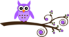 Purple Owl On Branch Clip Art