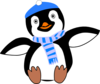 Penguin Wearing Hat And Scarf Clip Art