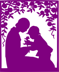 Purple Mother And Child Clip Art