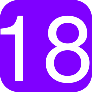 Purple, Rounded, Square With Number 18 Clip Art
