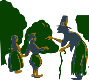 Witch Talking To Kids Clip Art