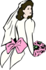 Bride With Pink Flowers Clip Art