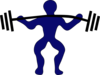 Blue Man Weightlifting Clip Art