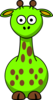 Green Giraffe With 14 Dots Clip Art