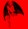 Red Devil Sitting Clip Art