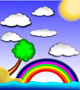 Rainbow On Beach Clip Art