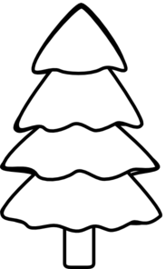 Fir Tree Black And White Clipart