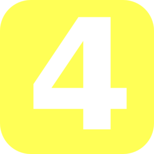 Yellow Rounded Number 4 Clip Art