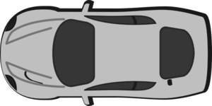 Gray Car - Top View - 180 Clip Art