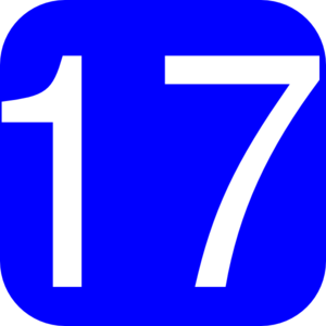 Blue, Rounded, Square With Number 17 Clip Art