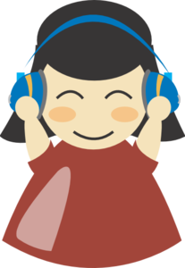 Girl With Headphones Clip Art